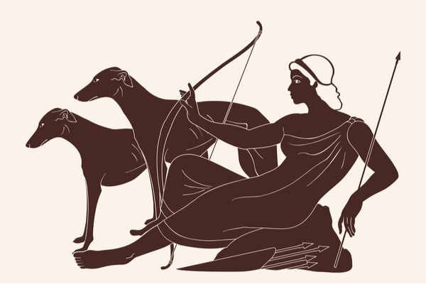 Artemis depictions frequently used arrow symbolism.