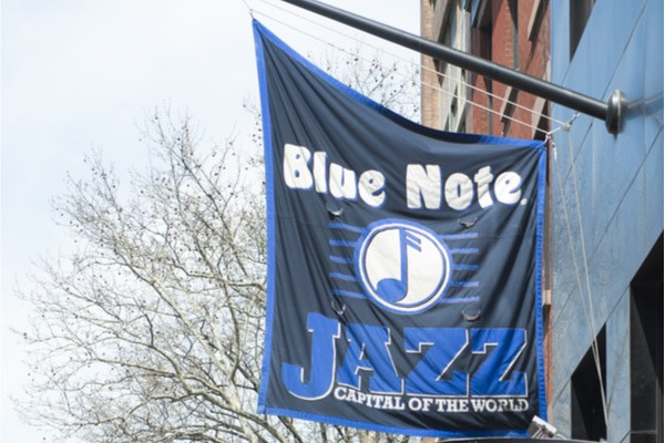 You can't miss Blue Note on the street