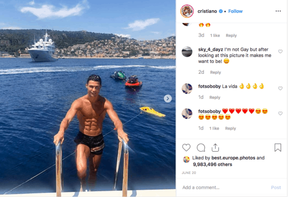 Cristiano Ronaldo Instagram account a post of the soccer player in his bathing suit on vacation