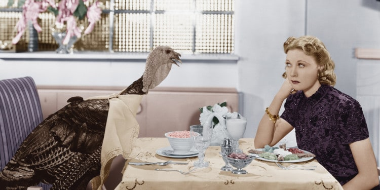 female comedy woman and live turkey
