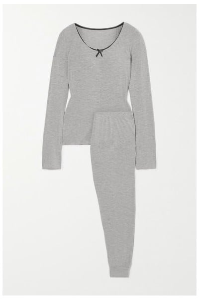 Morgan Lane June Lace-trimmed Jersey Pajama Set in Gray