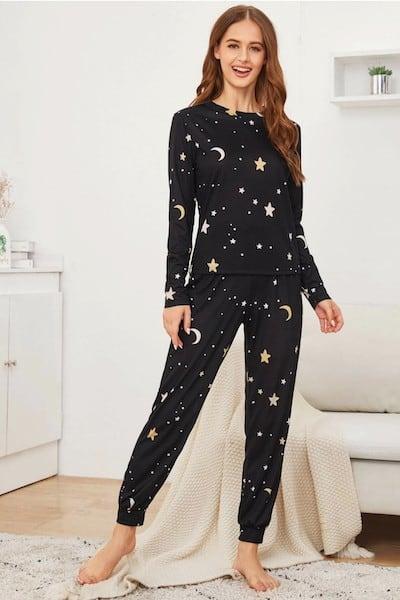 Romwe Star Print PJ Set