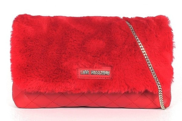 Love Moschino Red Quilted Eco-Leather & Faux Fur Shoulder Bag