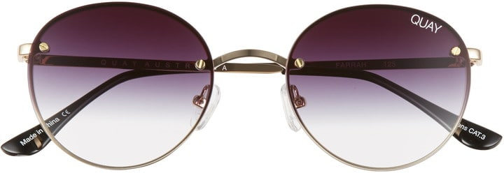 Round Sunglasses with Purple Brown Ombre Lenses
