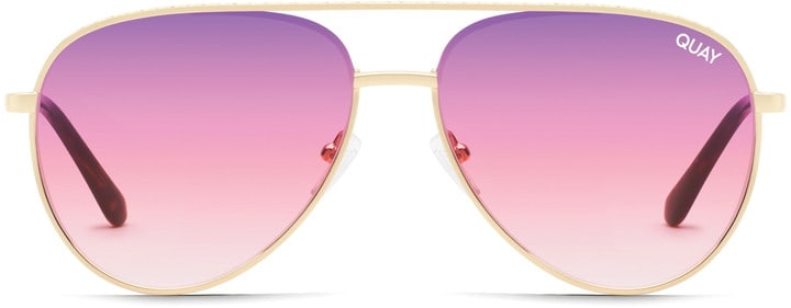 Gold aviator Sunglasses with reflective pink lenses