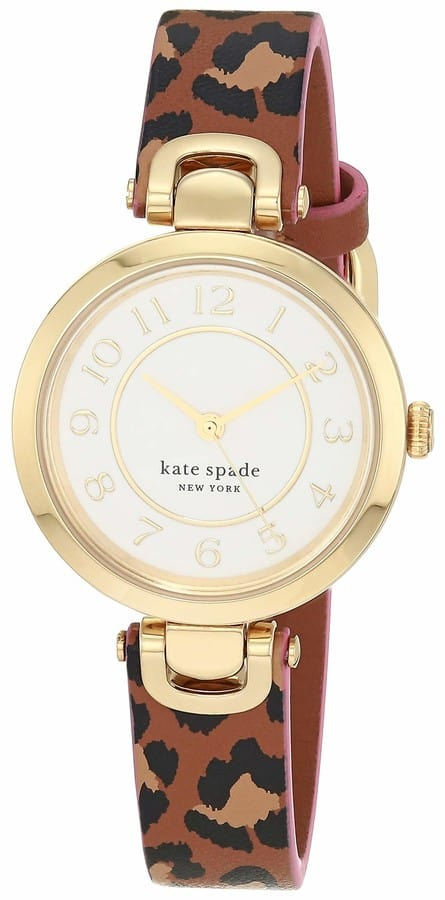 Kate Spade Kate Spade New York Women's Rainey Park Quartz Stainless Steel Leather Three-Hand Watch Color: Gold Cheetah Reversible (Model: KSW1637)